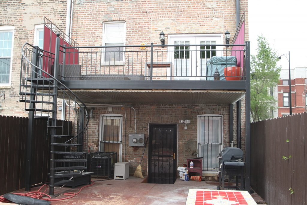 Backyard Patio Rennovation, Brick Walls, Chicago Backyard Project, Spiral Staircase, Window Treatments, Paint The Town Red, Chicago