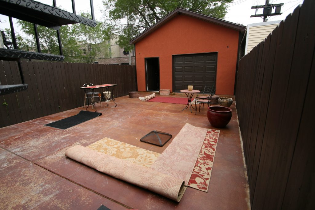 Before & After Backyard, Hacienda Project, Chicago, Backyard Rennovation, Concrete Backyard, Rustic, Wood Fencing