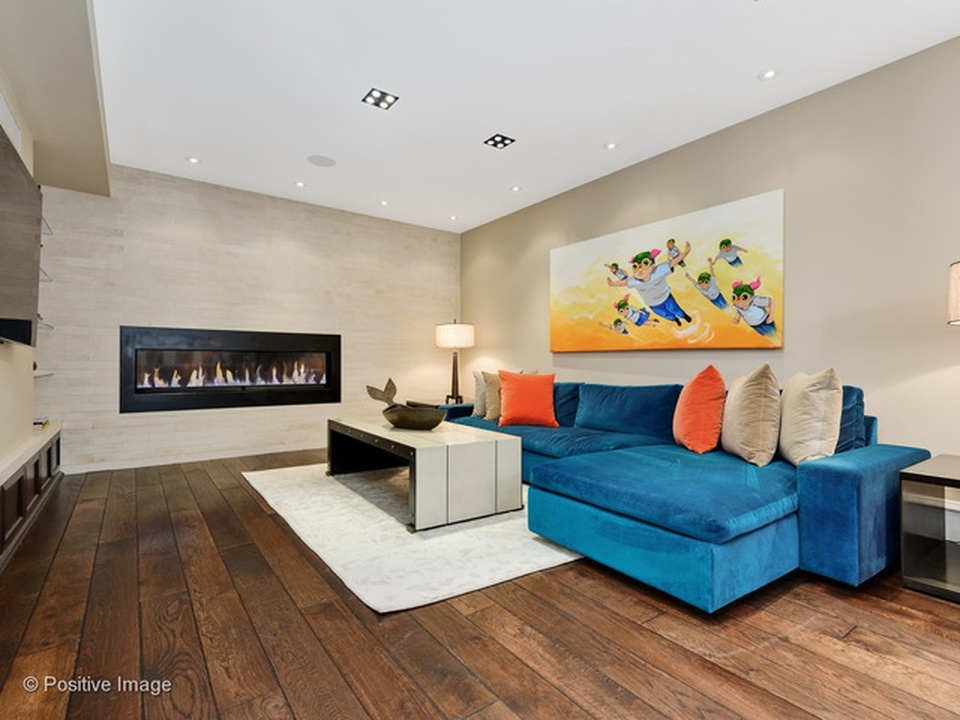 Blue couch in modern living room