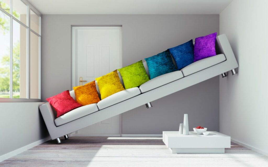 Rainbow pillow couch