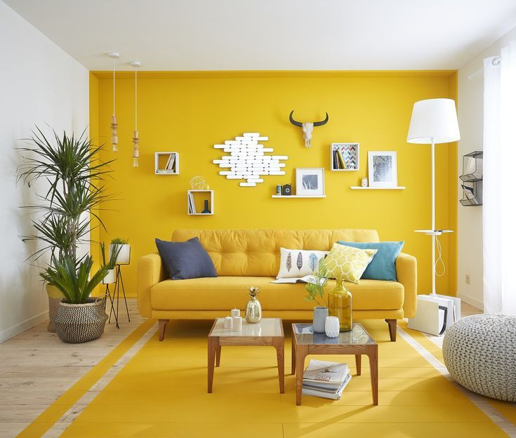 Bright Yellow Paint in Living Room