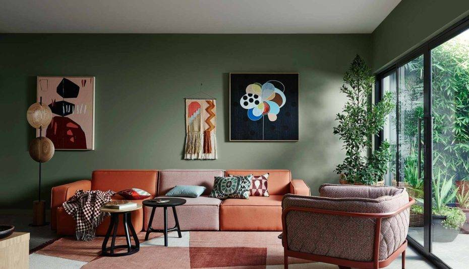Color selections for an inviting living room and gathering space.